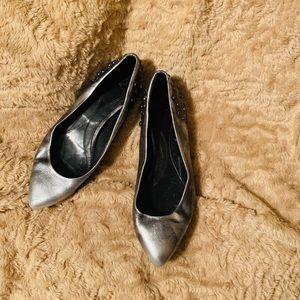 Well loved Alexander McQueen studded silver Flats